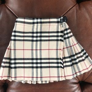 Burberry Skirt Tartan Plaid Wrap Fringe Buckle 12m